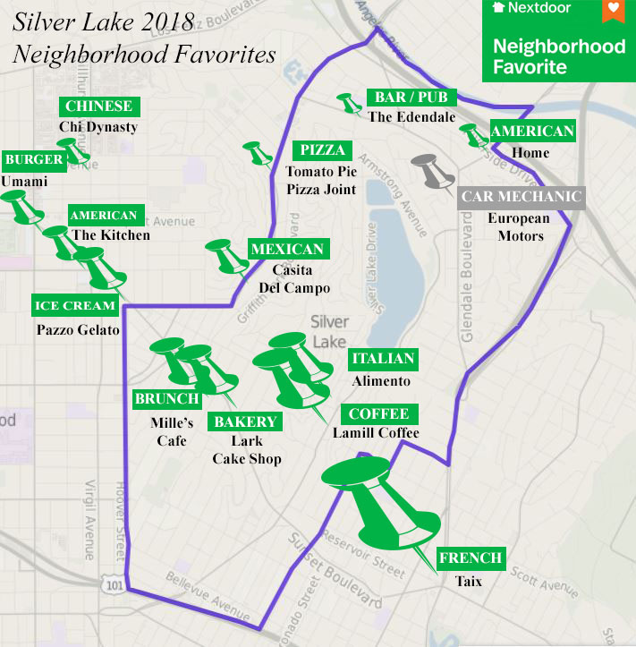 map of silver lake, food